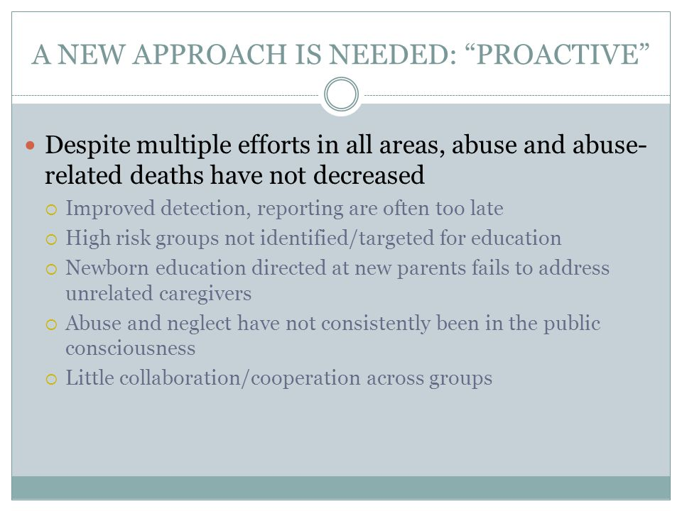 A NEW APPROACH IS NEEDED: PROACTIVE