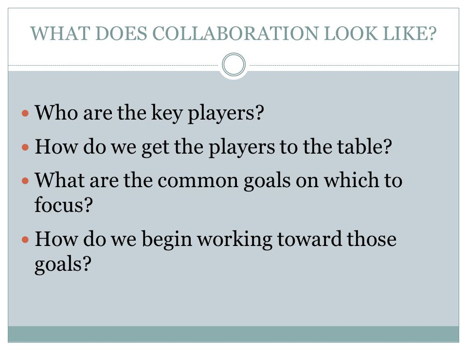 WHAT DOES COLLABORATION LOOK LIKE