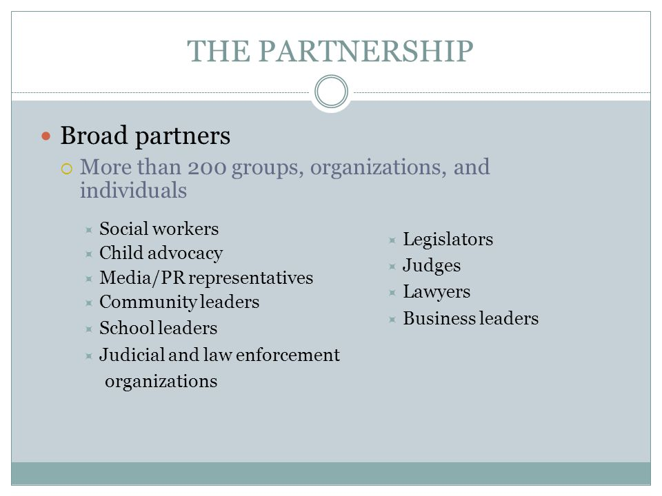 THE PARTNERSHIP Broad partners