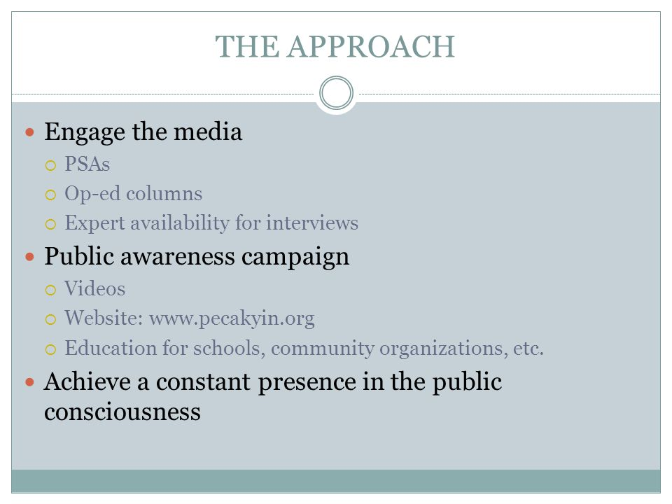 THE APPROACH Engage the media Public awareness campaign