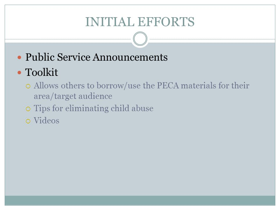 INITIAL EFFORTS Public Service Announcements Toolkit