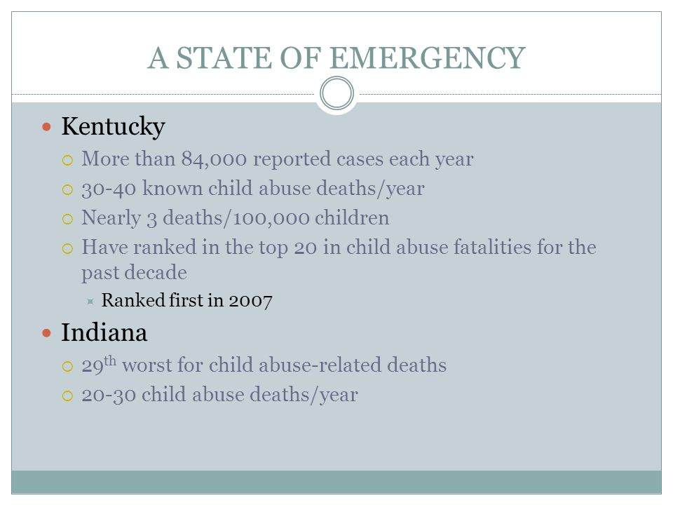 A STATE OF EMERGENCY Kentucky Indiana