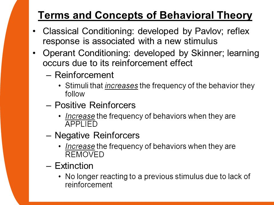 Terms and Concepts of Behavioral Theory