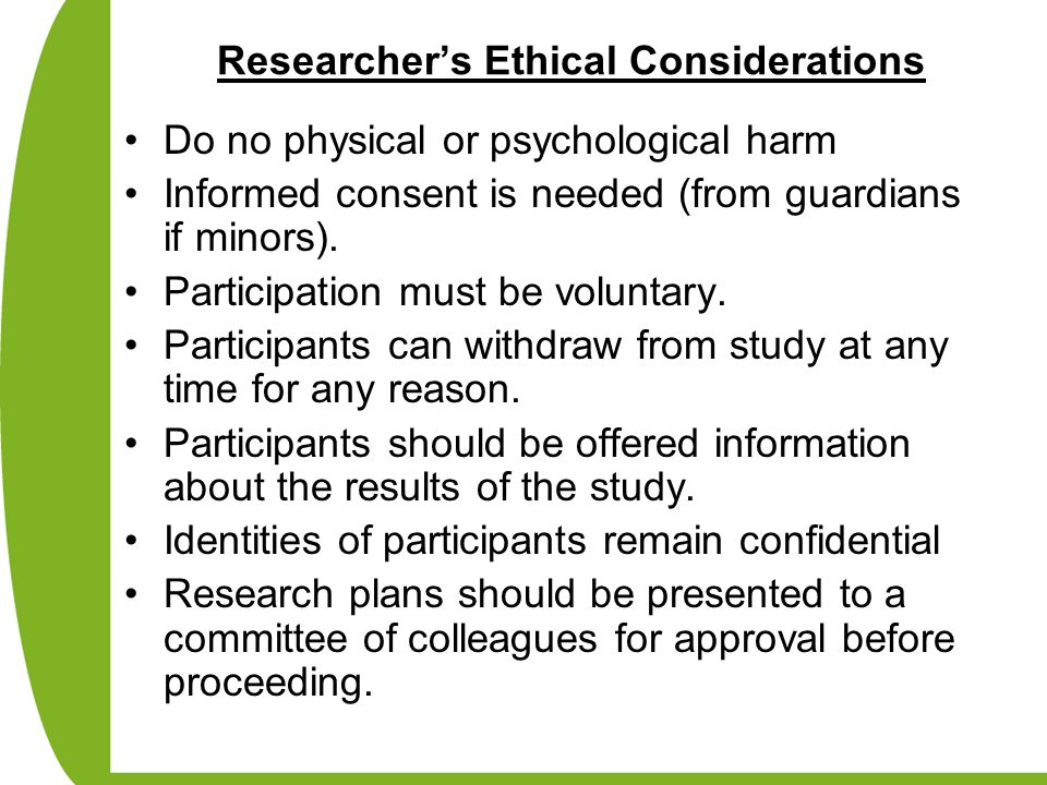 Researcher's Ethical Considerations