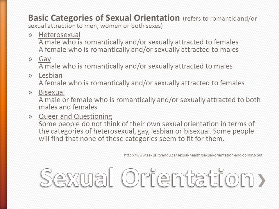 Basic Categories of Sexual Orientation (refers to romantic and/or sexual attraction to men, women or both sexes)