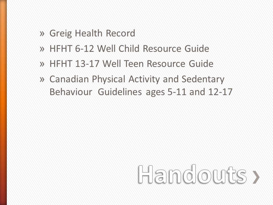 Handouts Greig Health Record HFHT 6-12 Well Child Resource Guide
