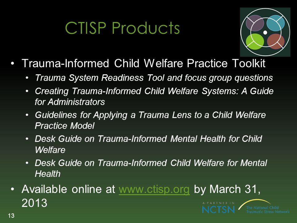 CTISP Products Trauma-Informed Child Welfare Practice Toolkit