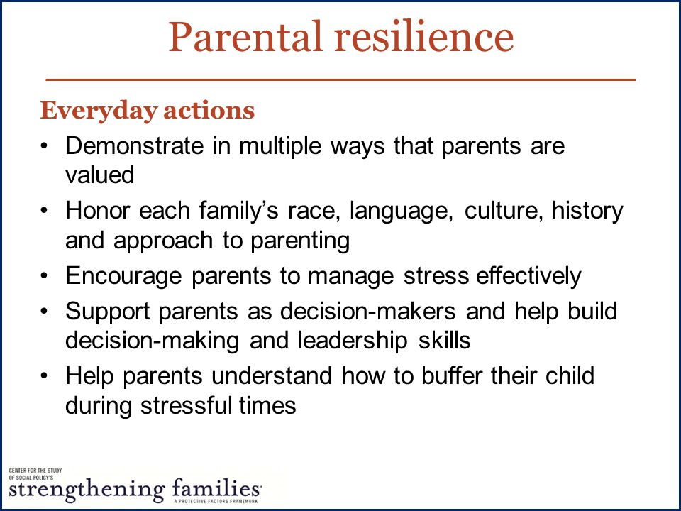 Parental resilience Everyday actions