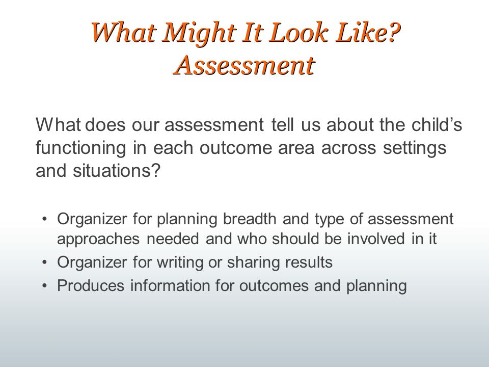 What Might It Look Like Assessment