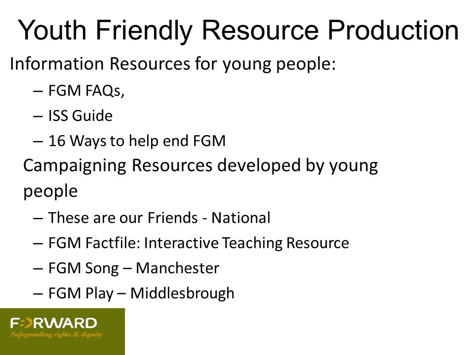 Youth Friendly Resource Production