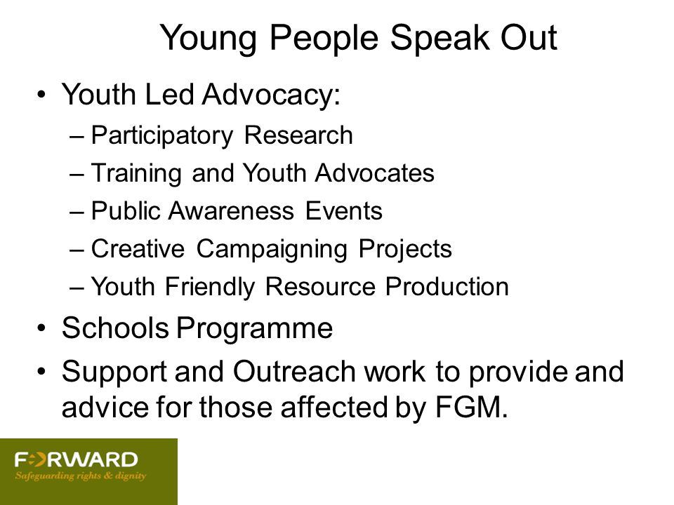Young People Speak Out Youth Led Advocacy: Schools Programme