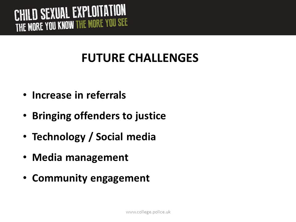 FUTURE CHALLENGES Increase in referrals Bringing offenders to justice
