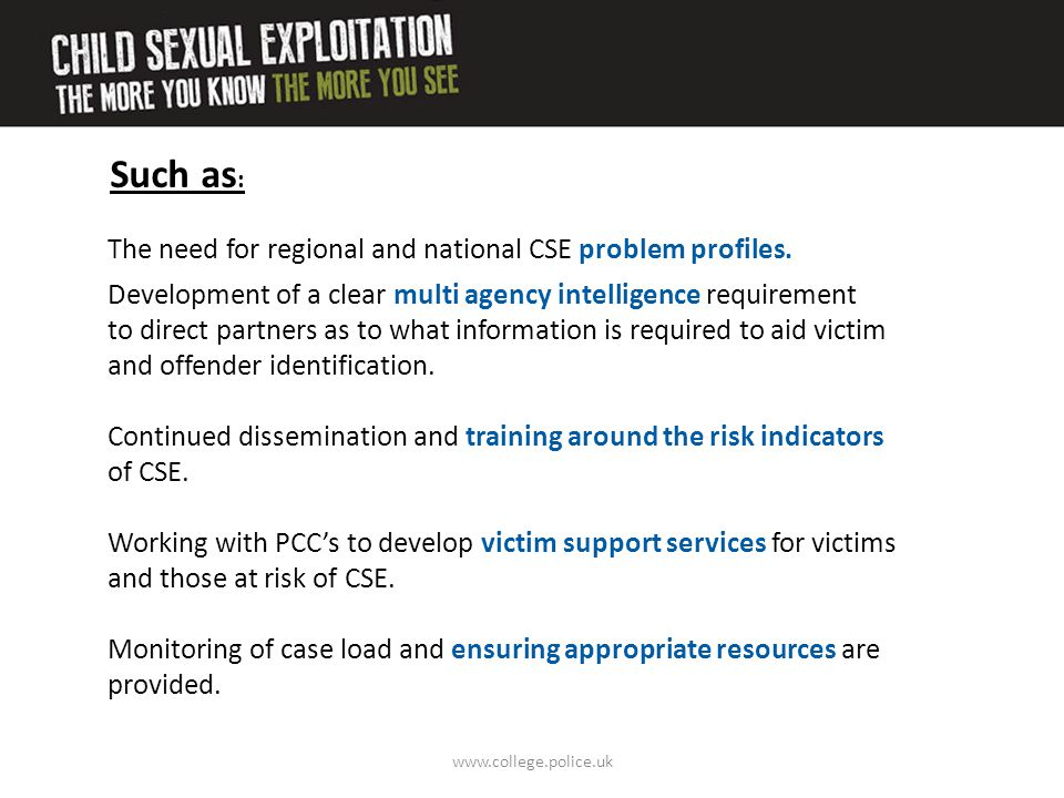 Such as: The need for regional and national CSE problem profiles.