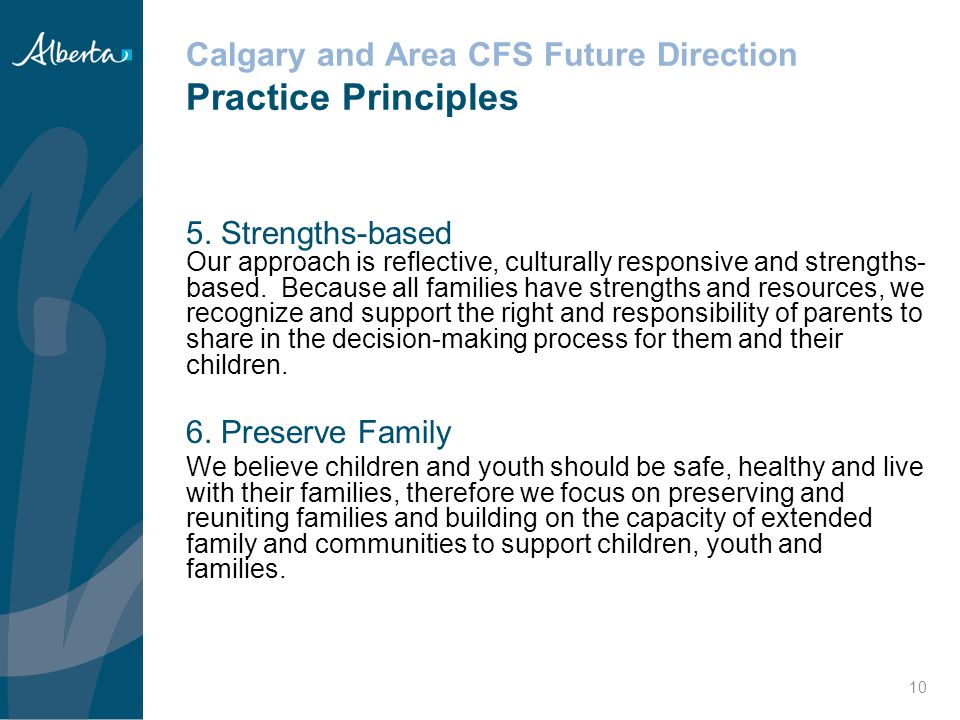 Calgary and Area CFS Future Direction Practice Principles