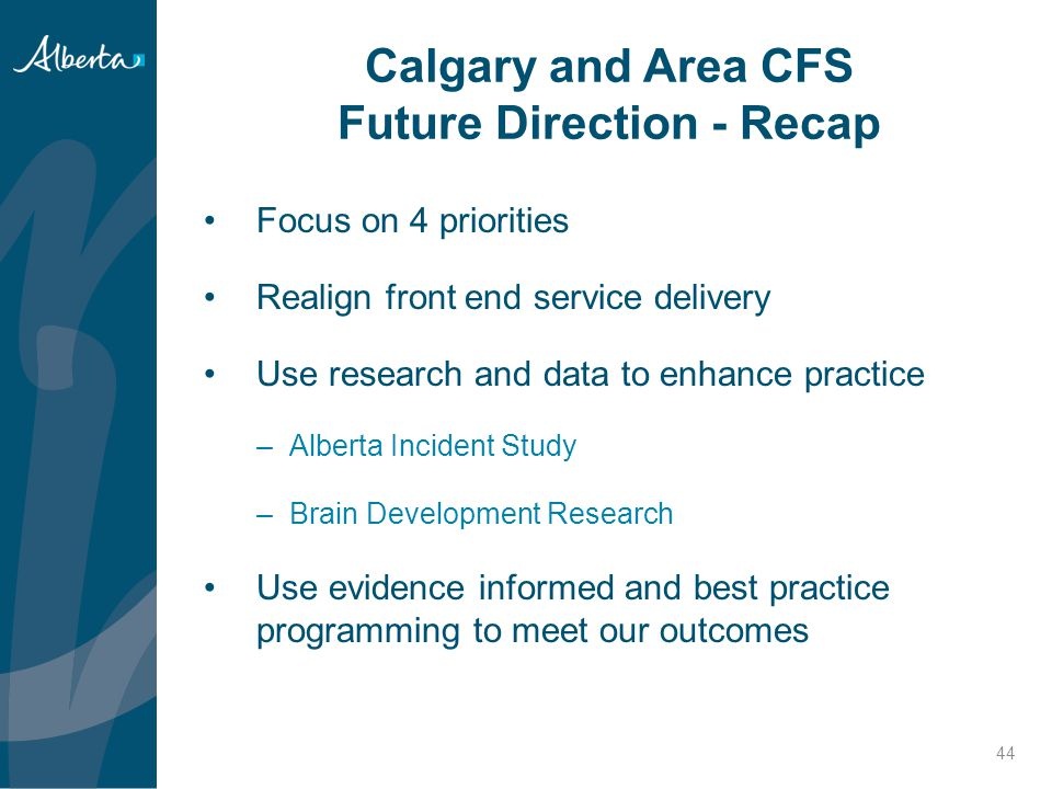 Calgary and Area CFS Future Direction - Recap