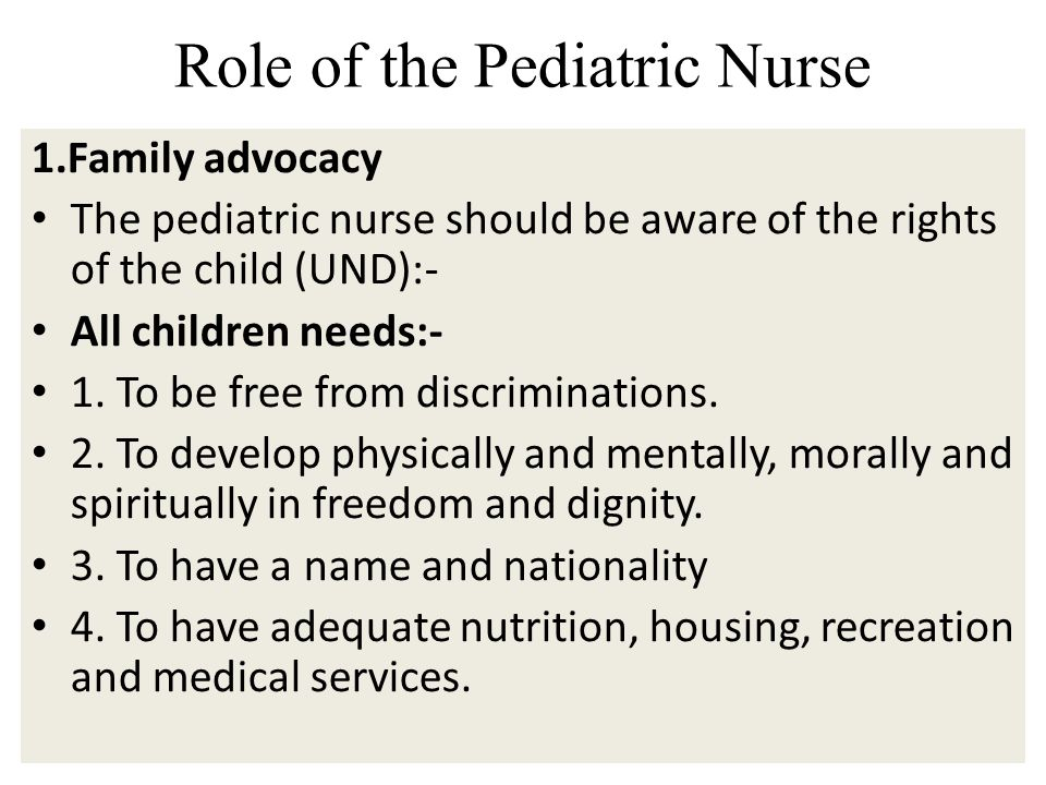 Role of the Pediatric Nurse