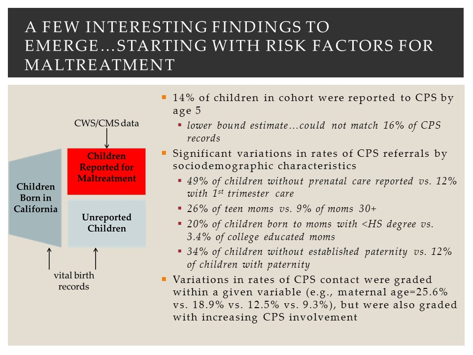 A few interesting findings to emerge…starting with risk factors for maltreatment