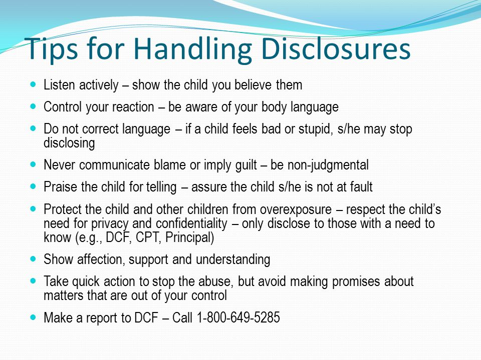 Tips for Handling Disclosures