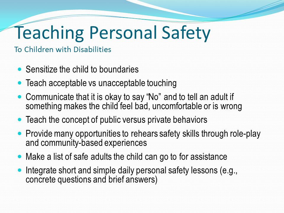 Teaching Personal Safety To Children with Disabilities