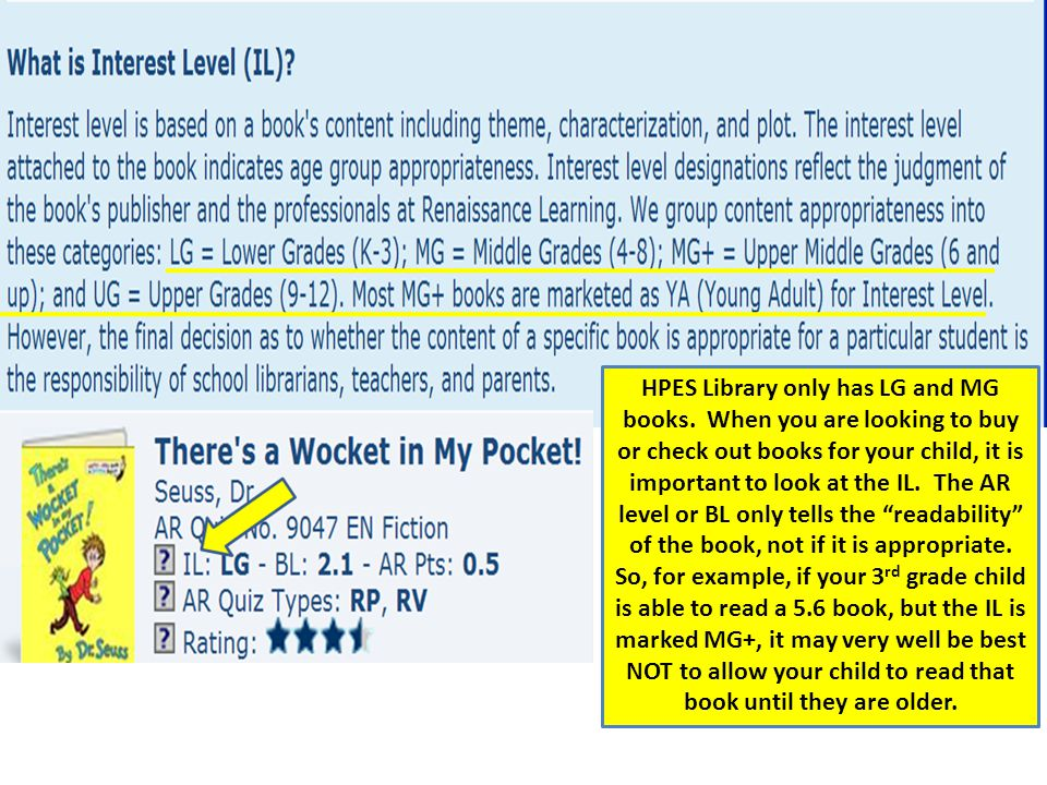 HPES Library only has LG and MG books