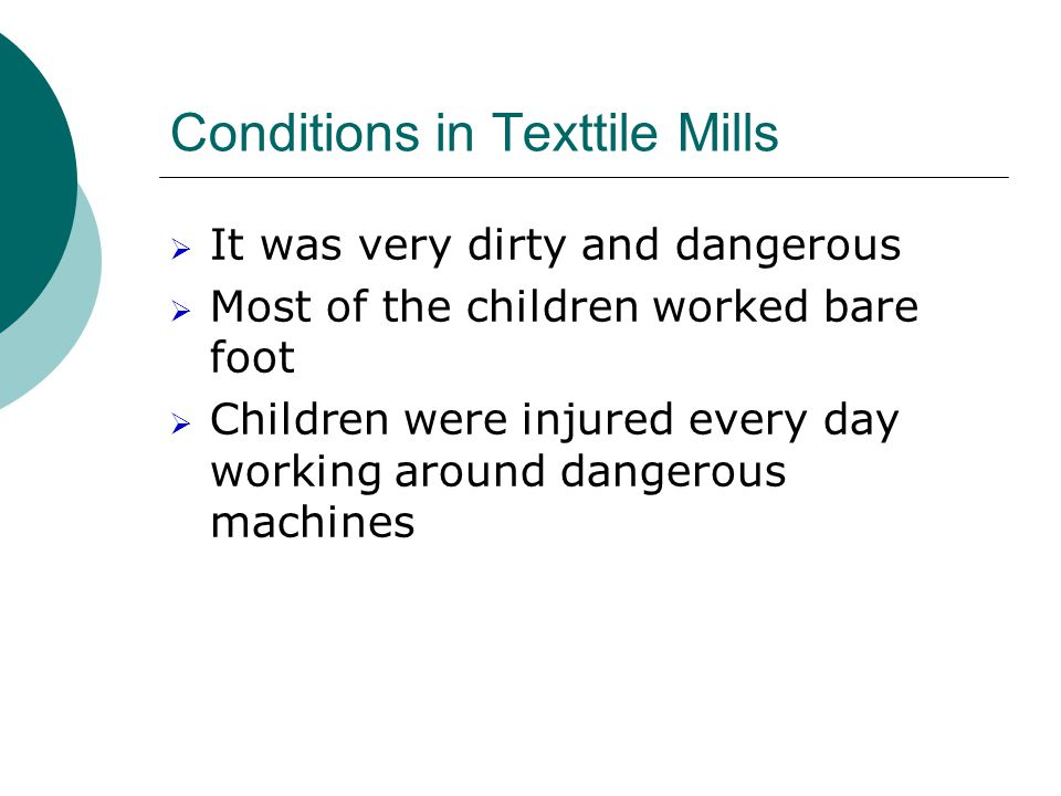 Conditions in Texttile Mills
