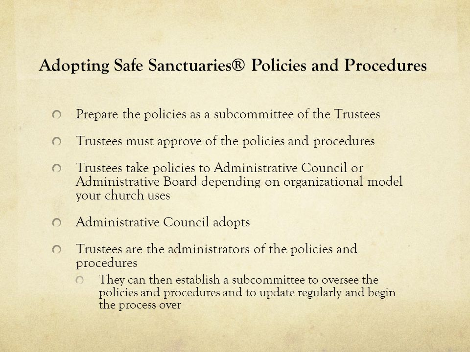 Adopting Safe Sanctuaries® Policies and Procedures