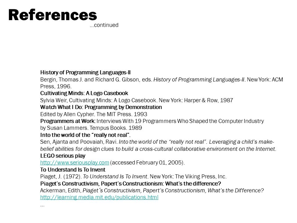 References …continued