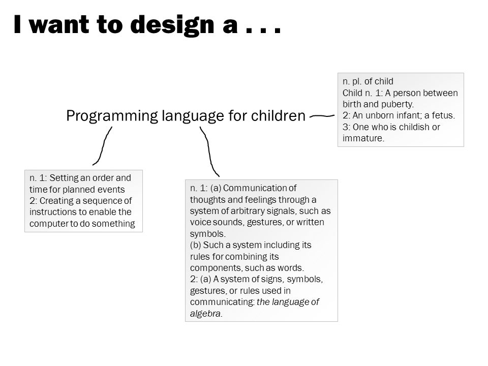 I want to design a . . . Programming language for children