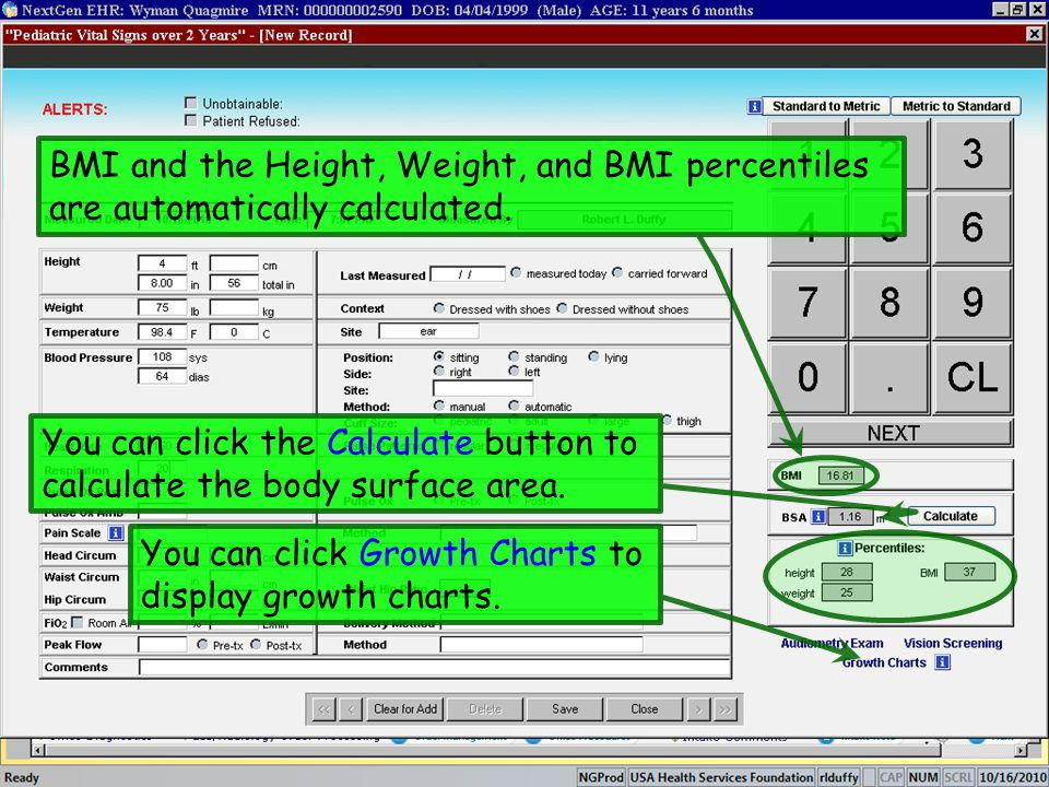 BMI and the Height, Weight, and BMI percentiles are automatically calculated.