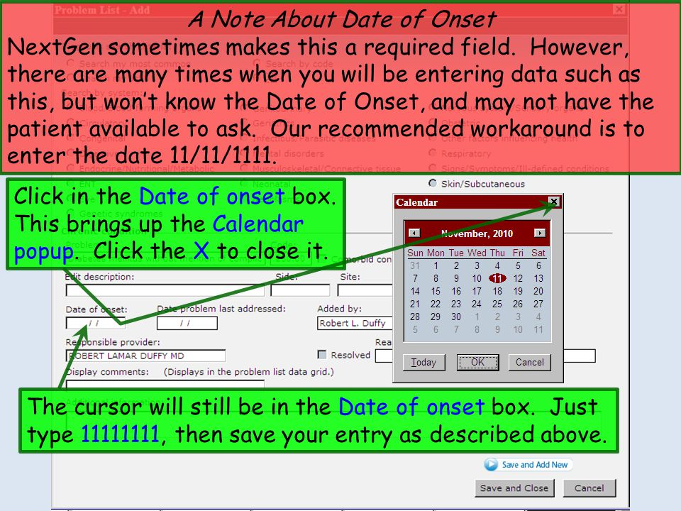A Note About Date of Onset