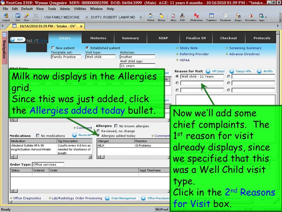 Nextgen workflow demonstration well child visit family medicine 34 milk maxwellsz