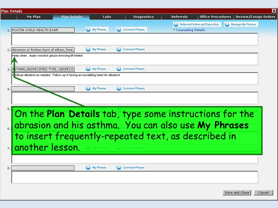 On the Plan Details tab, type some instructions for the abrasion and his asthma.