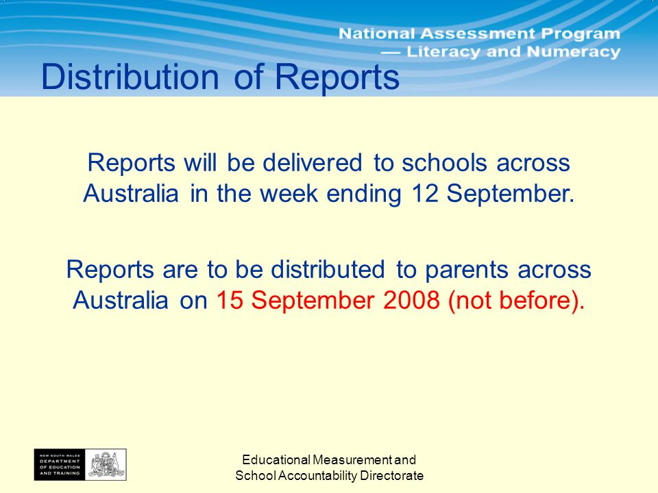 Distribution of Reports