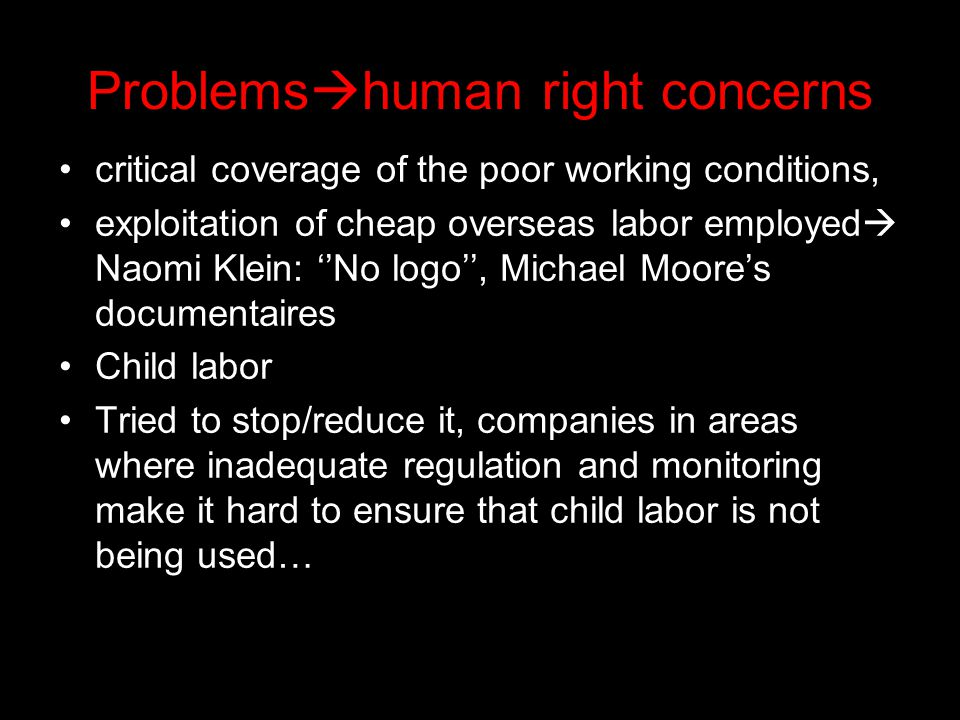 Problemshuman right concerns