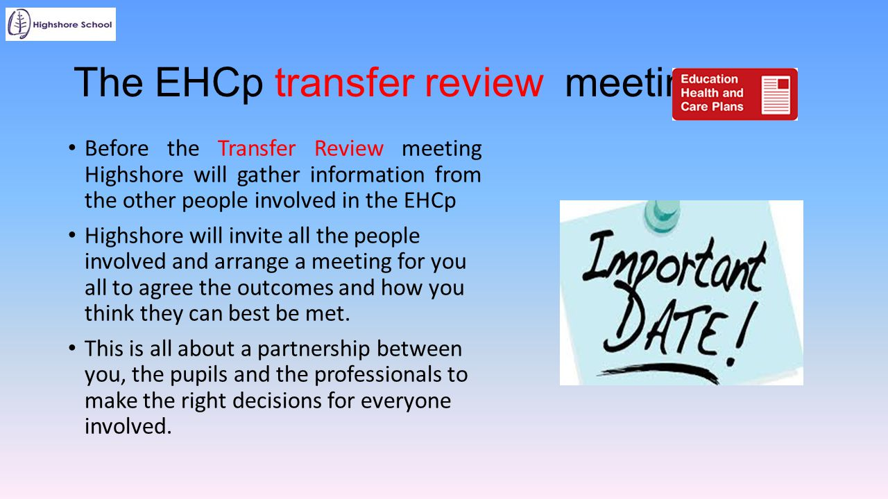 The EHCp transfer review meeting