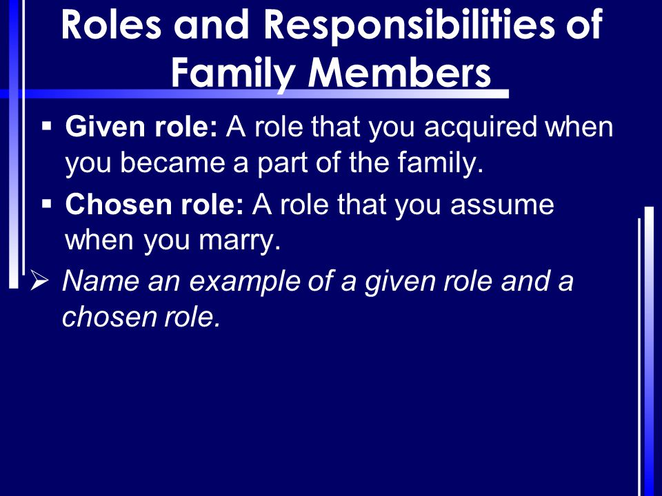 Roles and Responsibilities of Family Members