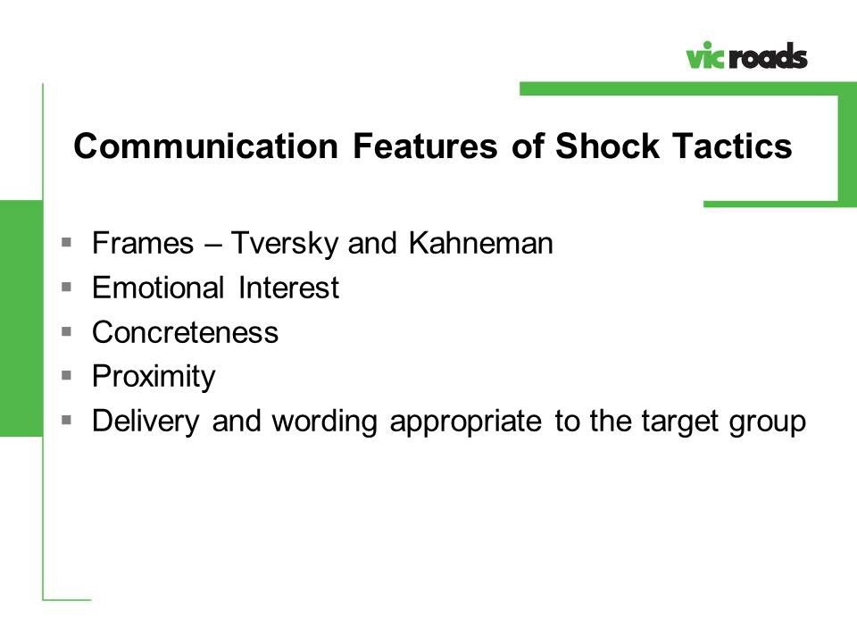 Communication Features of Shock Tactics