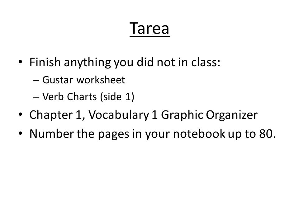 Tarea Finish anything you did not in class: