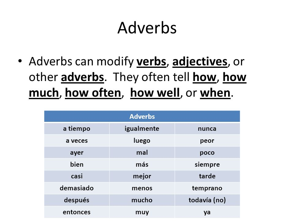 Adverbs Adverbs can modify verbs, adjectives, or other adverbs. They often tell how, how much, how often, how well, or when.