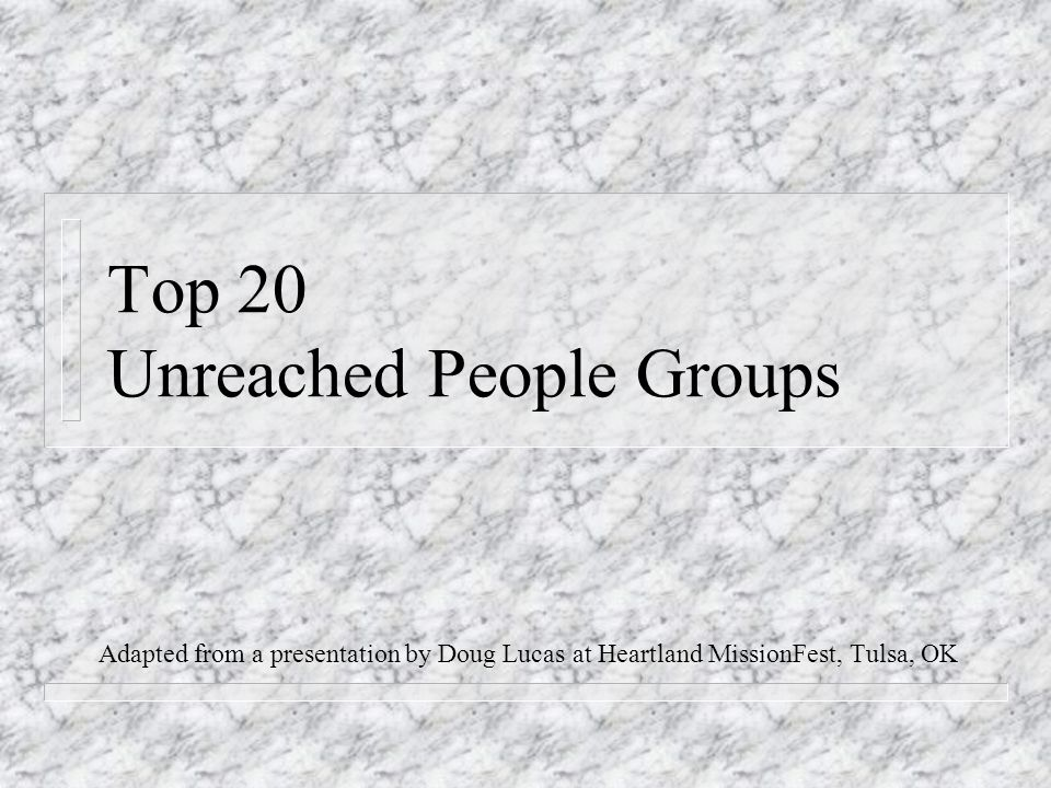 Top 20 Unreached People Groups