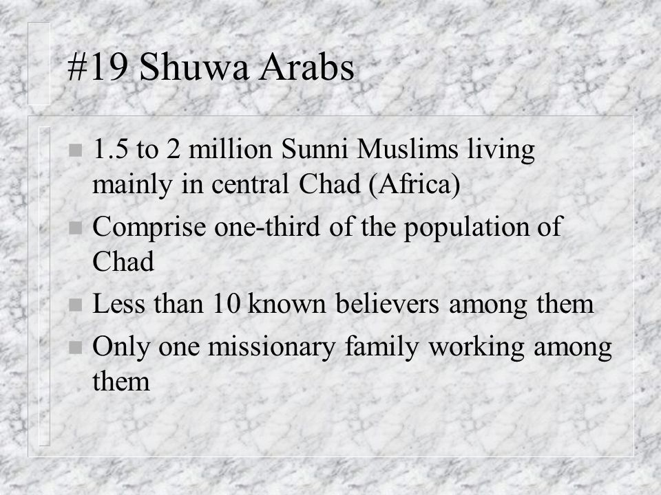 #19 Shuwa Arabs 1.5 to 2 million Sunni Muslims living mainly in central Chad (Africa) Comprise one-third of the population of Chad.
