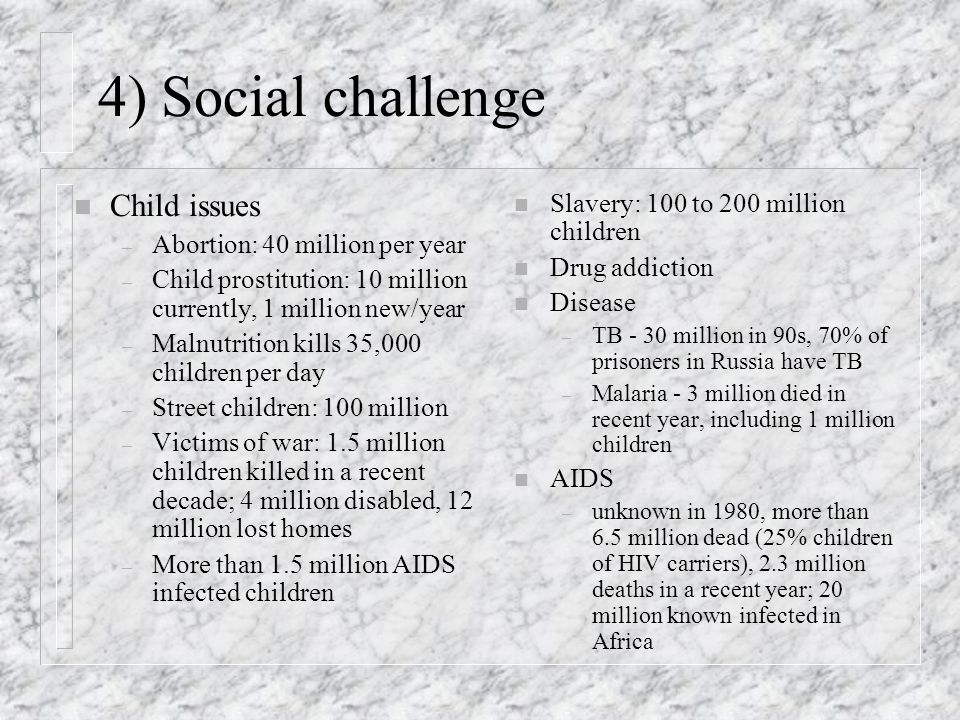 4) Social challenge Child issues Slavery: 100 to 200 million children