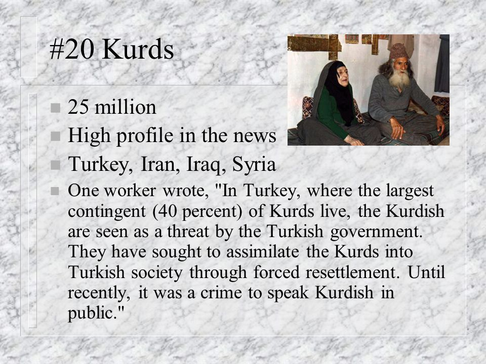 #20 Kurds 25 million High profile in the news