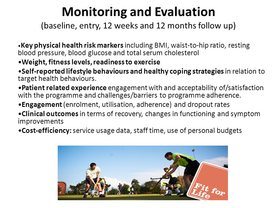 Monitoring and Evaluation (baseline, entry, 12 weeks and 12 months follow up)