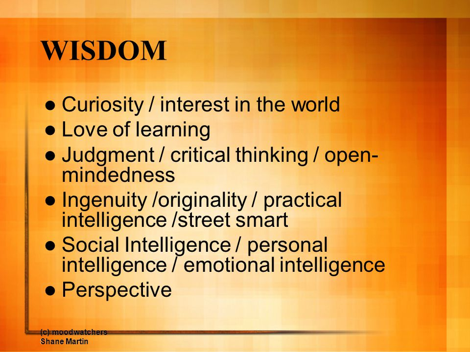 WISDOM Curiosity / interest in the world Love of learning