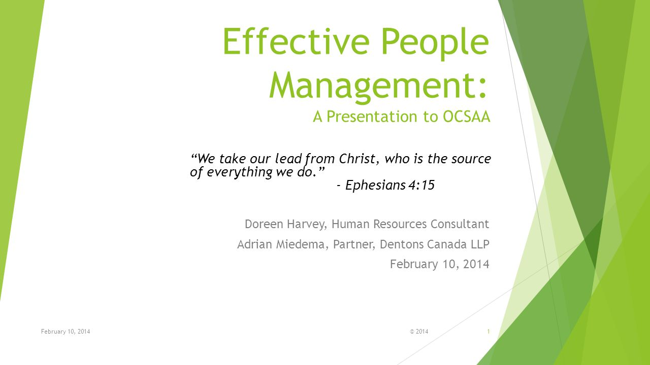 Effective People Management: A Presentation to OCSAA