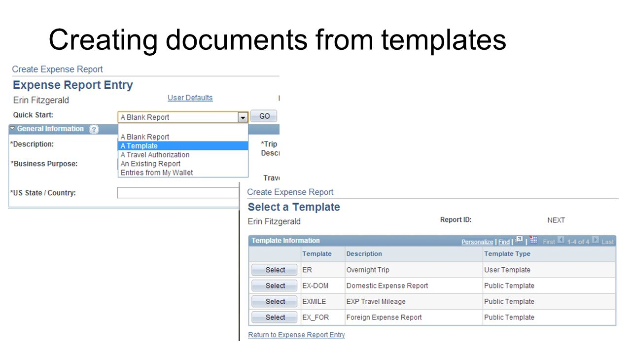Creating documents from templates