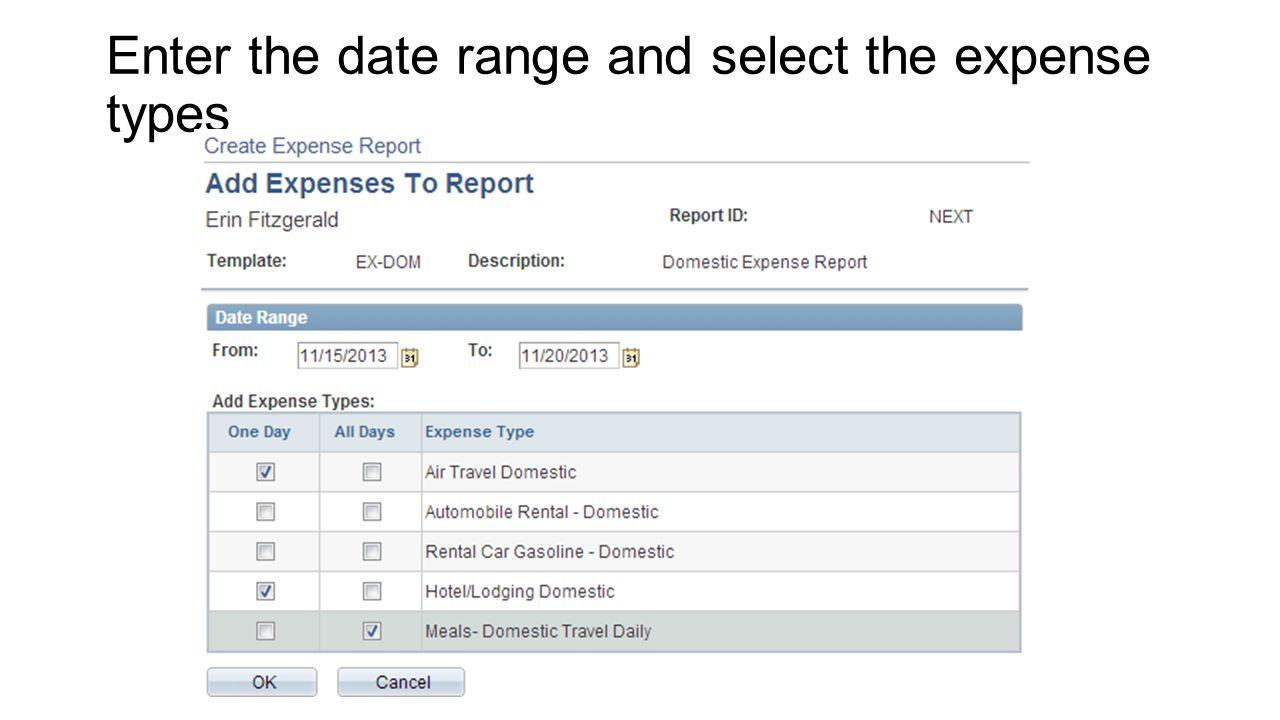 Enter the date range and select the expense types