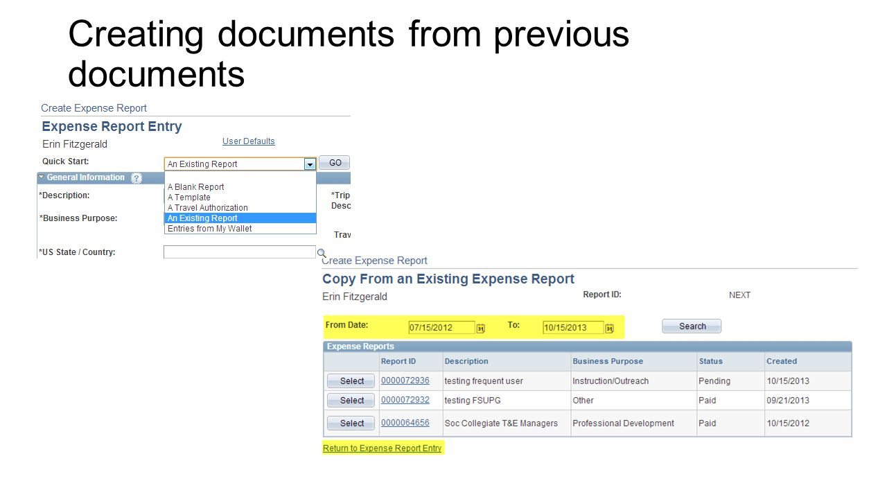 Creating documents from previous documents