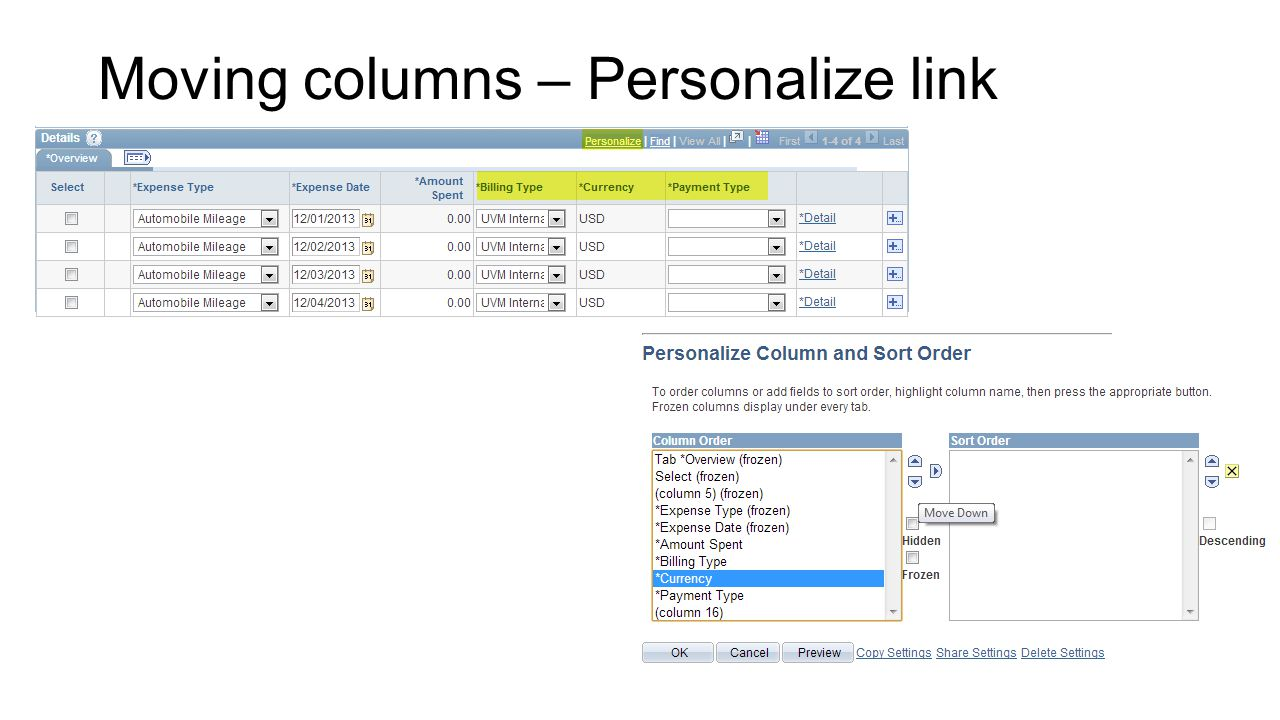Moving columns – Personalize link